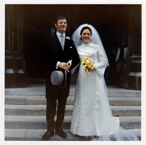 Louise and I emerging from St James's church, Spanish Place. August 21st 1971