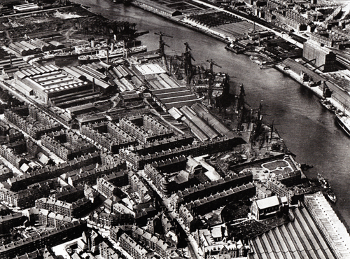 Ariel view of the shipyard district of Govan